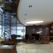 Modern Office Interior Scene 3dmax Model
