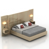 Deluxe Wooden Double Bed Model
