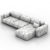 White Pattern Sofa Free 3d Max Models