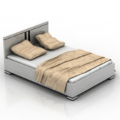 White Double Bed  Free 3d Model