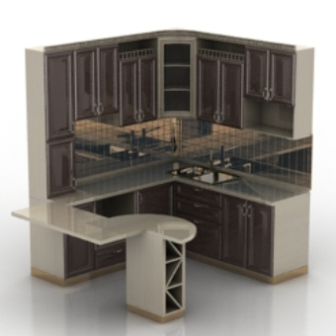European Kitchen Cabinet Design 3d Model
