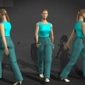 Movement Female Character Free 3dmax Model