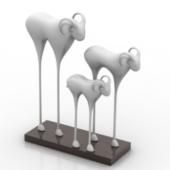 Three Lambs Metal Sculpture Free 3dmax Model