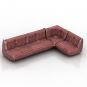 Red Plush Long Sofa