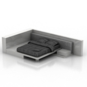 Modern Black Double Bed Free 3dmax Model