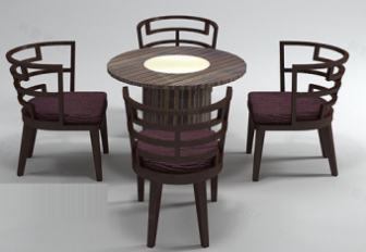 Antique Wooden Tea Table Free 3dmax Model