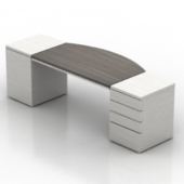 White Wooden Office Desk Free 3dmax Model
