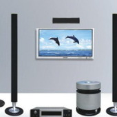 Home Theater Multimedia Set Free 3dmax Model