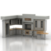 Full Kitchen Furniture Free 3dMax Model