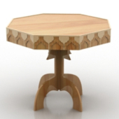 Design Octagonal Wooden Table Free 3dMax Model