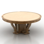 Wooden Round Table Free 3dmax Model