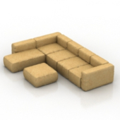 Yellow Sofa Combination Free 3dmax Model