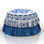 Blue Floral Tablecloth Free 3dMax Model
