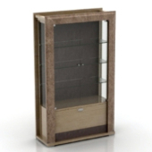 European Wooden Glass Cabinet Free 3dMax Model