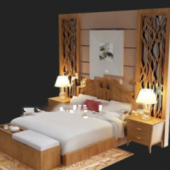 Wooden Bed Free 3dmax Model