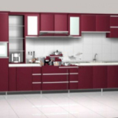 Pure Red Cabinets Free 3dmax Model
