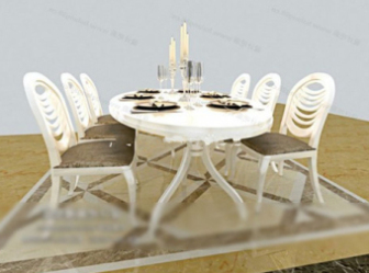 Free 3dmax Model Of A Combination Of White Chairs