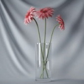 Red Flowers in Glass Pot Free 3dmax Model