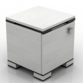 Fashion Free 3dmax Model White Bedside Cabinet