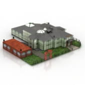 Free 3dmax Model Of European Villa Landscape Conjoined