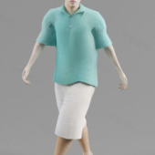 Blue T-shirt Man Free 3dmax Model