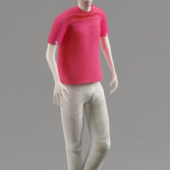 Red T-shirt Men Free 3dmax Model
