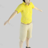 Yellow T-shirt Man Free 3dmax Model