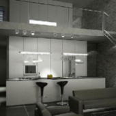 Two Storey Home Kitchen Room Scene 3dmax Model