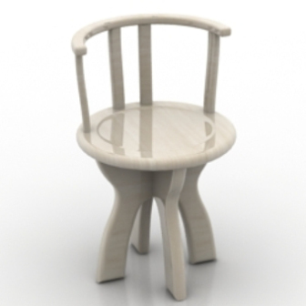 Wood Round Stone Bench 3dmax Model