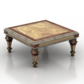 Retro Wooden Coffee Table Free 3dmax Model