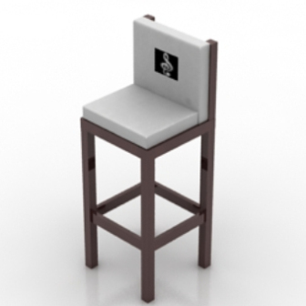 Wooden High Chair Furniture 3dmax Model
