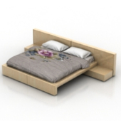 Double Wooden Bed Free 3dmax Model