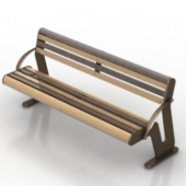 Wood Metal Park Bench Free 3dmax Model