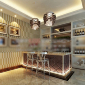 Wine Tasting Space Interior Scene Free 3dmax Model