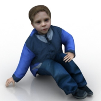 Little Boy Sitting On Floor Free 3dmax Model