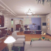 Casual Living Room Free 3dmax Model