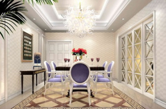 European Modern Noble White Purple Restaurant Free 3dmax Model