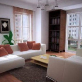 Large Windows Living Room 3dsMax Model