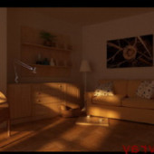 Sunset Living Room 3dmax Scene