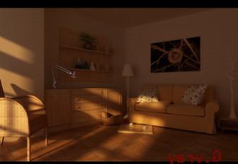 Sunset Living Room 3dmax Scene