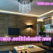 Dark Style Living Room Scene Free 3dmax Model