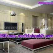 Modern Sleek Living Room Free 3dmax Model
