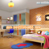 Orange Color Children Bedroom Interior