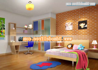 Orange Color Children Bedroom Interior Free 3dmax Model