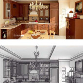 Wooden Kitchen Interior Free 3dmax Scene