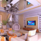 Free 3dmax Interior Scene Modern Living Room