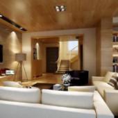 Modern Wooden Minimalist Living Room Interior 3dmax Scene
