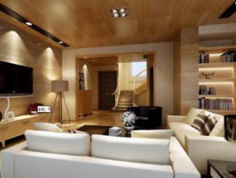Modern Wooden Minimalist Living Room max Scene