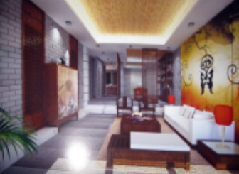 Chinese-style Shift Gate Abstract Style Living Room Free 3dmax Model