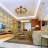 European Bright Living Room Free 3dmax Model